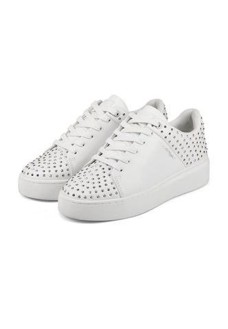 STUD-ED LOW TOP-WHITE/SILVER