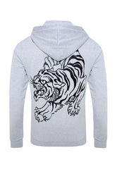 TIGER-GIANT FLEECE SWEAT HOODY - GREY MARL - Ed Hardy Official