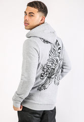 TIGER-GIANT FLEECE SWEAT HOODY - GREY MARL