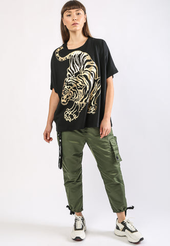 TIGER-GIANT OVERSIZE TOP - BLACK - Image 2