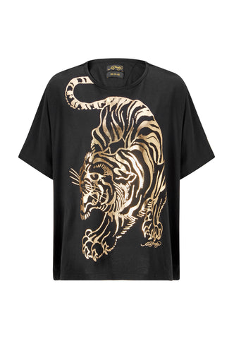 TIGER-GIANT OVERSIZE TOP - BLACK