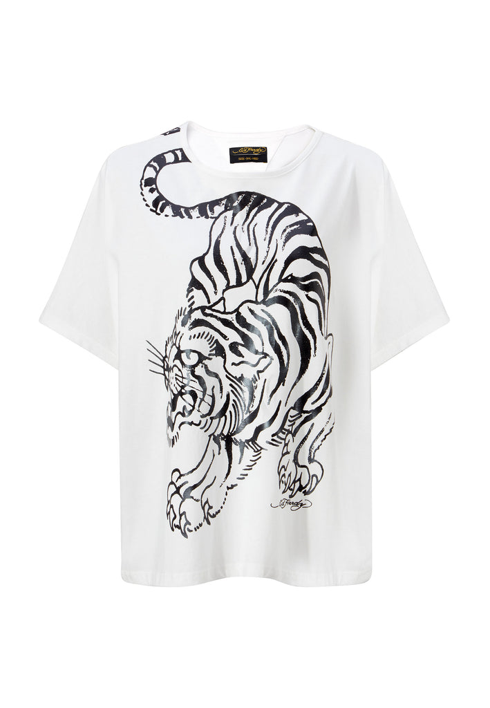 TIGER-GIANT OVERSIZE TOP - WHITE - Ed Hardy Official