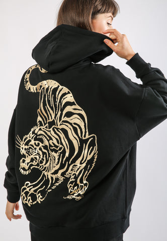 TIGER-GIANT POUCH HOODY - BLACK - TIGER PACK