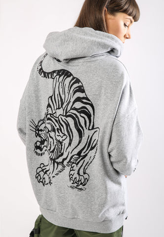 TIGER-GIANT POUCH HOODY - GREY - TIGER PACK