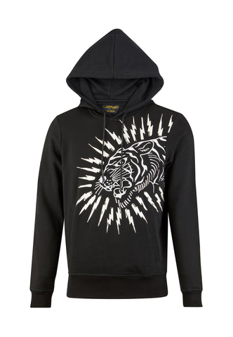 TIGER-LIGHTNING HOODY - BLACK