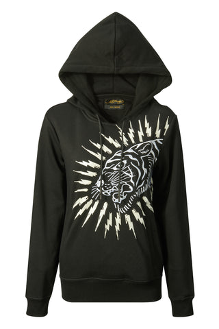 TIGER-LIGHTNING HOODY (WOMENS) - BLACK