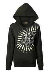 TIGER-LIGHTNING HOODY (WOMENS) - BLACK - Ed Hardy Official