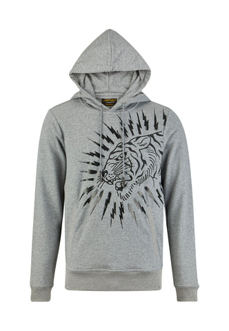 TIGER-LIGHTNING HOODY - GREY