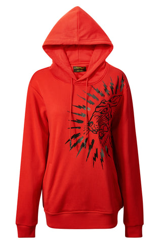 TIGER-LIGHTNING HOODY RED WOMENS