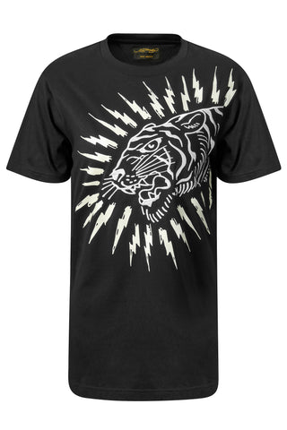 TIGER-LIGHTNING T-SHIRT (WOMENS) - BLACK