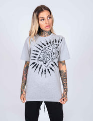 TIGER-LIGHTNING T-SHIRT (WOMENS) - GREY - Ed Hardy Official