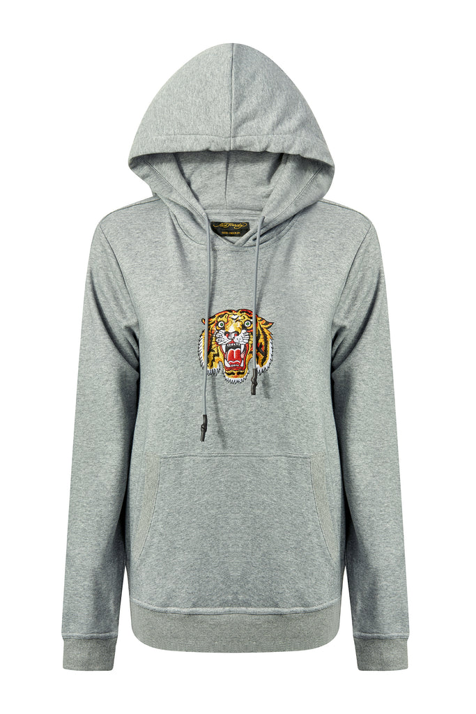 TIGER-LOS HOODY (WOMENS) - GREY - Ed Hardy Official