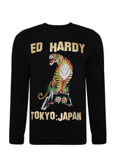 TIGER-MOUNTAIN CREW NECK SWEATSHIRT - BLACK - Ed Hardy Official