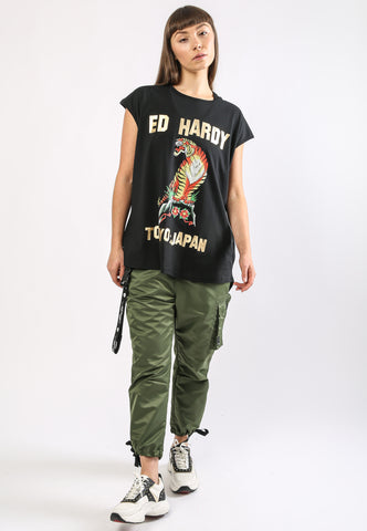 TIGER-MOUNTAIN DIP HEM TEE - BLACK - Image 2