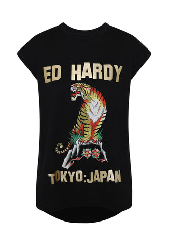 TIGER-MOUNTAIN DIP HEM TEE - BLACK