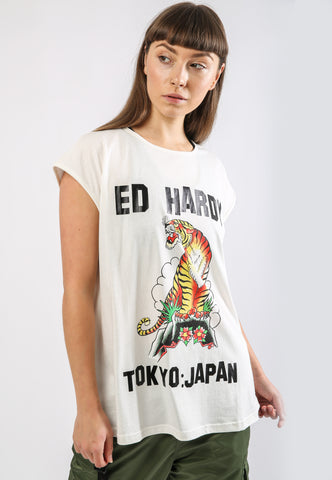 TIGER-MOUNTAIN DIP HEM TEE - WHITE