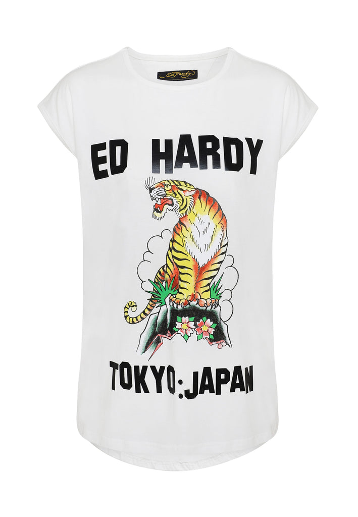 TIGER-MOUNTAIN DIP HEM TEE - WHITE - Ed Hardy Official