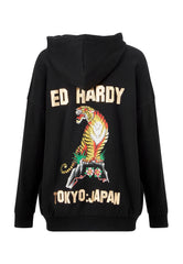 TIGER-MOUNTAIN POUCH HOODY - BLACK - Ed Hardy Official