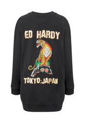 TIGER-MOUNTAIN SWEATER DRESS - BLACK - Ed Hardy Official