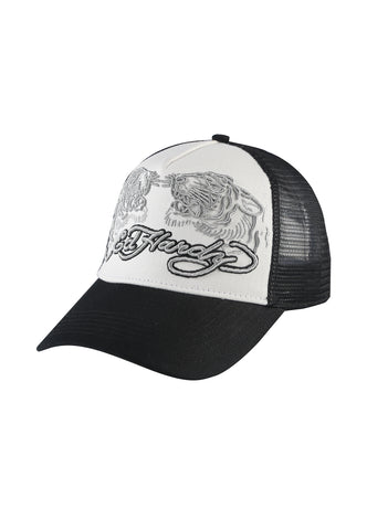 TIGER-SPLIT TWILL FRONT MESH TRUCKER - WHITE/BLACK