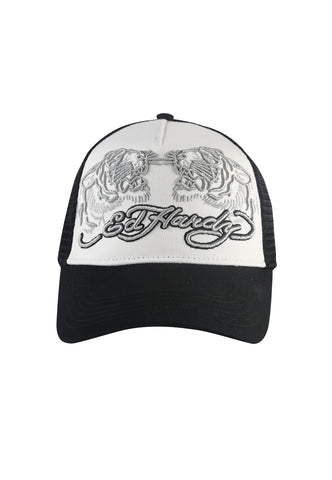 TIGER-SPLIT TWILL FRONT MESH TRUCKER - WHITE/BLACK - Image 2