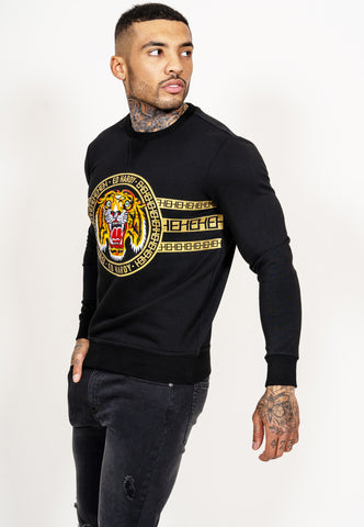 TIGER STRIPE CREW SWEAT - BLACK - Image 2