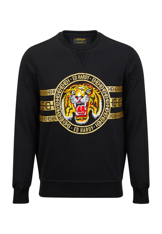 TIGER STRIPE CREW SWEAT - BLACK