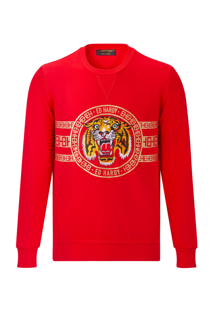 TIGER STRIPE CREW SWEAT - RED - Ed Hardy Official
