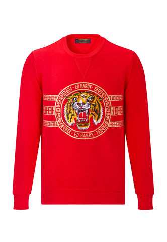 TIGER STRIPE CREW SWEAT - RED