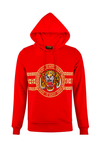 TIGER STRIPE HOODY-RED