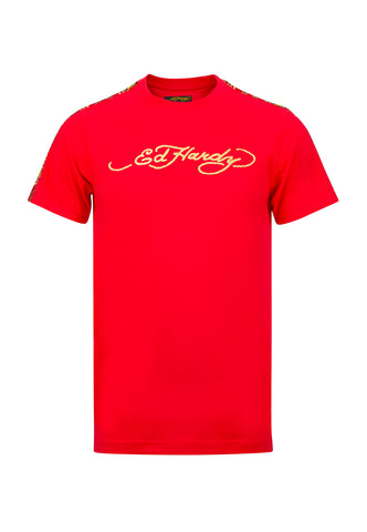 TIGER STRIPE-LOGO T-SHIRT - RED
