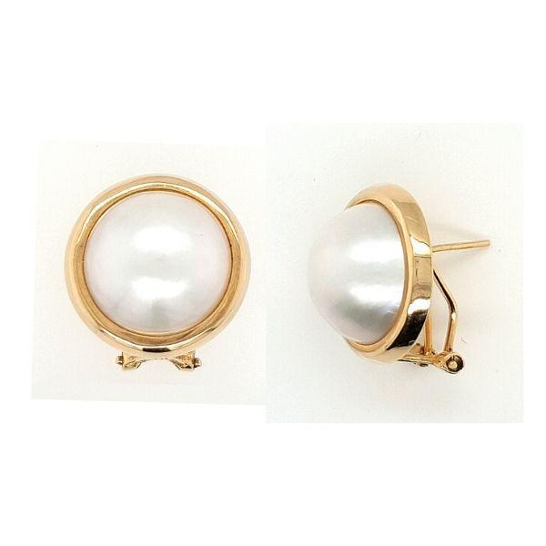 Mabe Pearl Earrings 14ct Gold