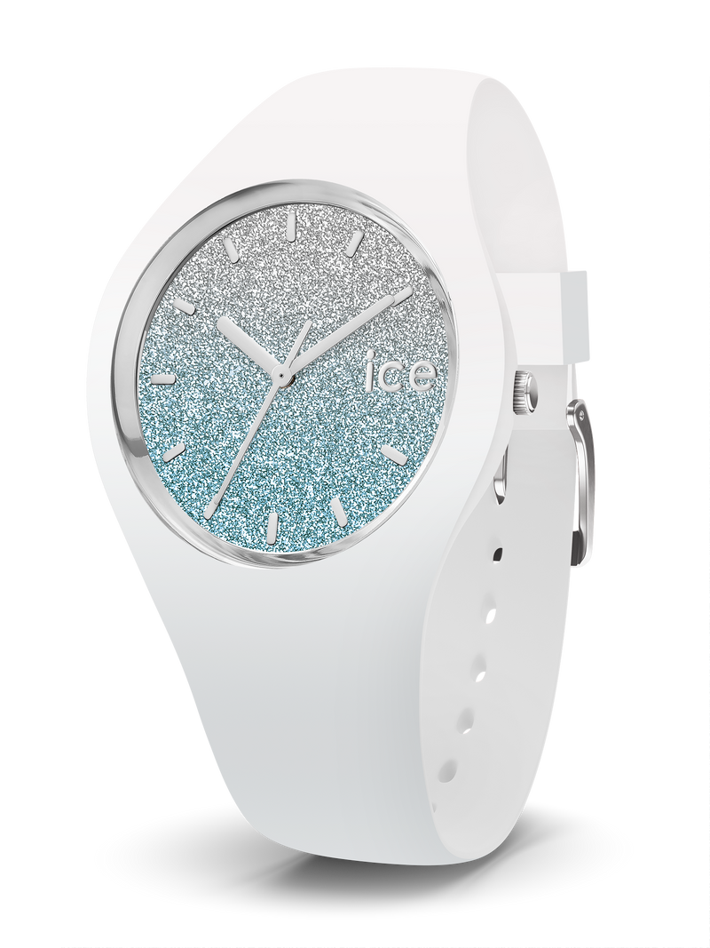 ICE WATCH Lo Collection Silver Case 34mm (S) White Blue Dial White Strap