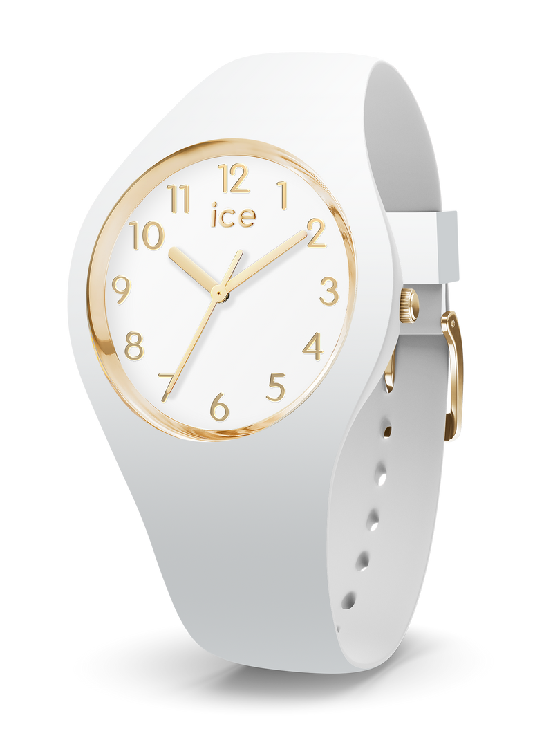 ICE WATCH Glam Collection Gold Case 40mm (M) White Dial White Strap