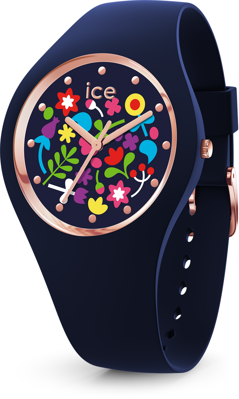 ICE WATCH Flower Collection Rose Gold Case 34mm (S) Blue Flower Dial Blue Strap