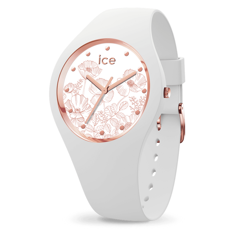 ICE WATCH Flower Collection Rose Gold Case 34mm (S) White Dial White Strap