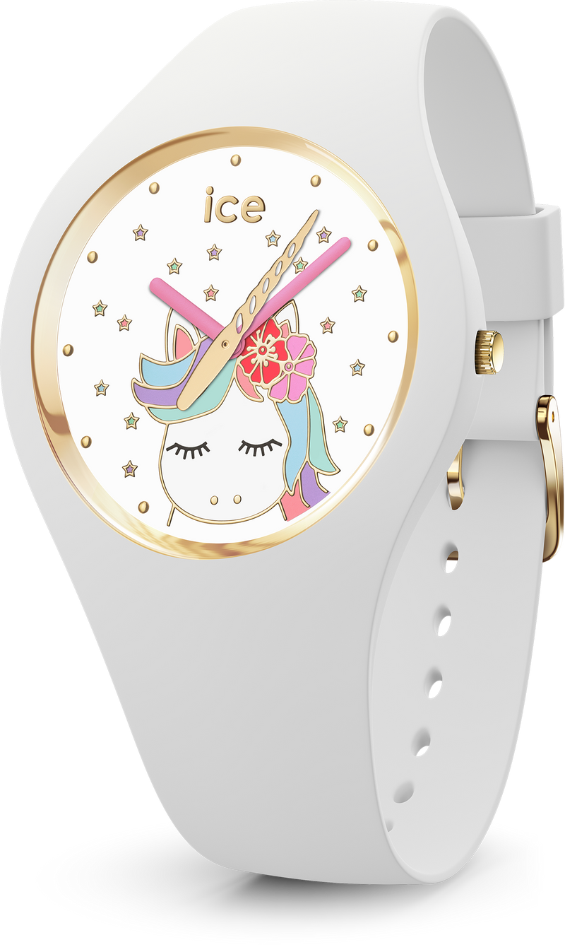 ICE WATCH Fantasia Collection Gold Case 34mm (S) White Unicorn Dial White Strap