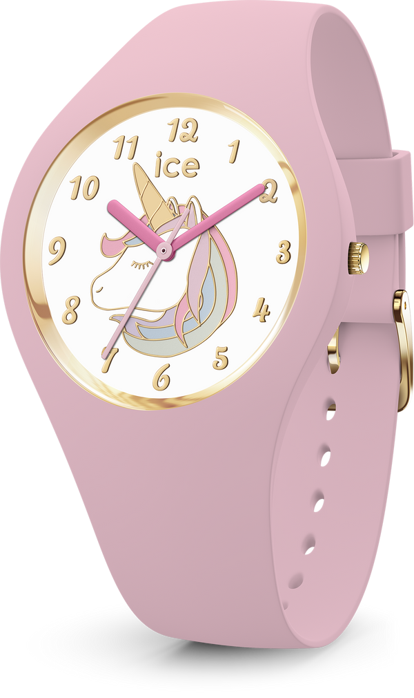 ICE WATCH Fantasia Collection Gold Case 34mm (S) White Unicorn Dial Pink Strap
