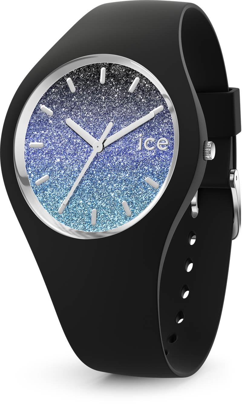 ICE WATCH Lo Collection Silver Case 40mm (M) Black Blue Dial Black Strap