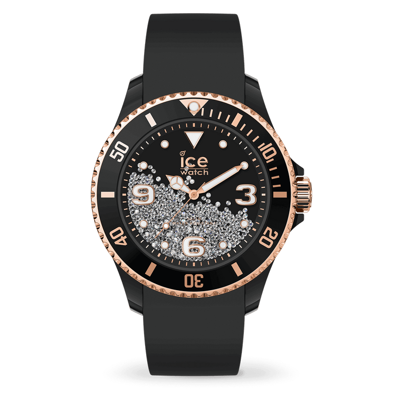 ICE WATCH Crystal Black Rosegold Smooth Medium 3H