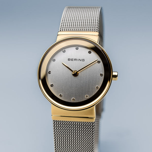 Bering Classic Polished Gold Silver Mesh Watch