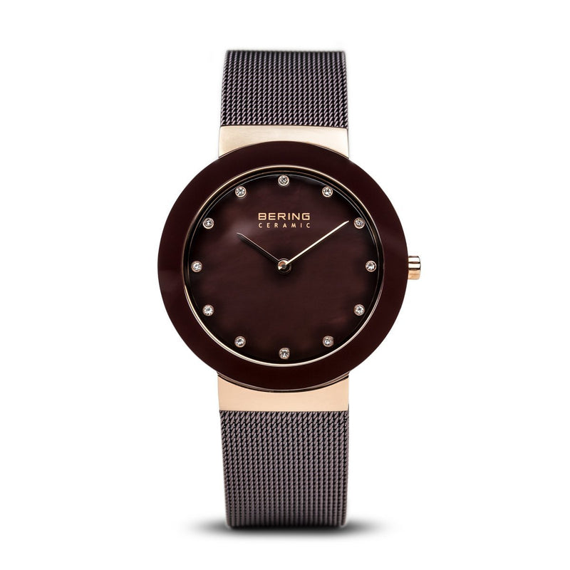Bering Ceramic Polished Rose Gold Brown Watch