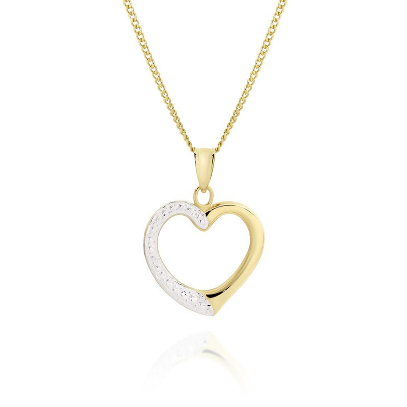 9Ct Two Tone Gold Heart Pendant