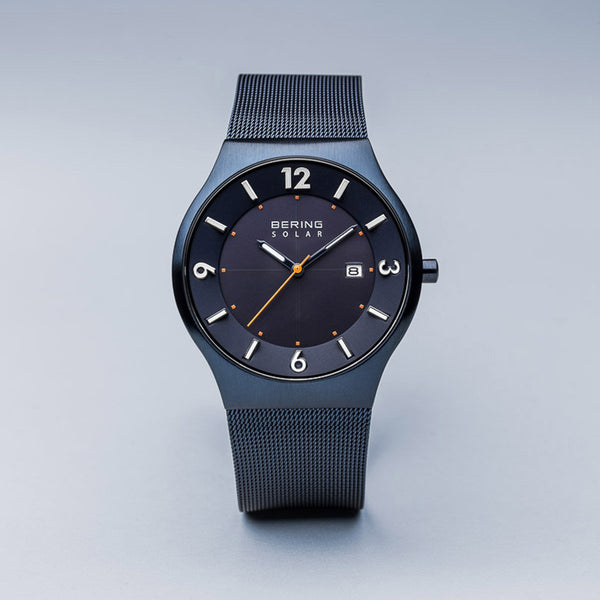 Bering Solar Brushed Blue Mesh Watch