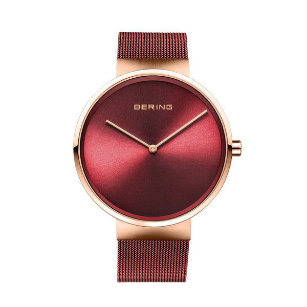 Bering Classic Brushed Rose Gold Red Mesh Watch