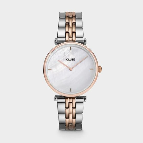 CLUSE Triomphe Rose Gold White Pearl/Silver Rose Gold Link Ladies Watch