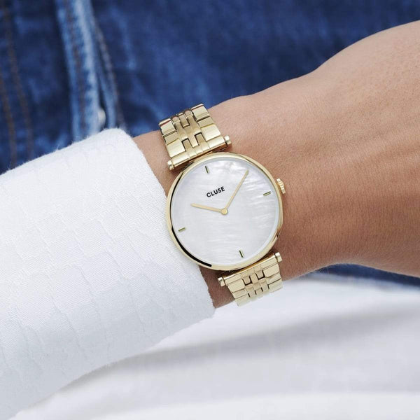 CLUSE Triomphe Gold White Pearl/Gold Link Ladies Watch