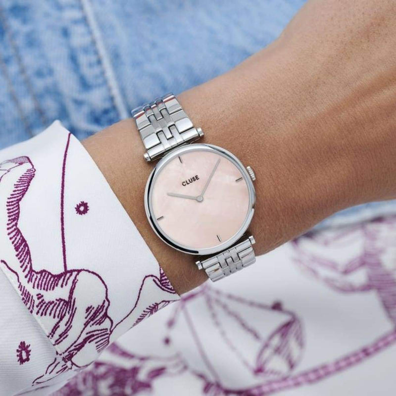 CLUSE Triomphe Silver Salmon Pink Pearl/Silver Link Ladies Watch