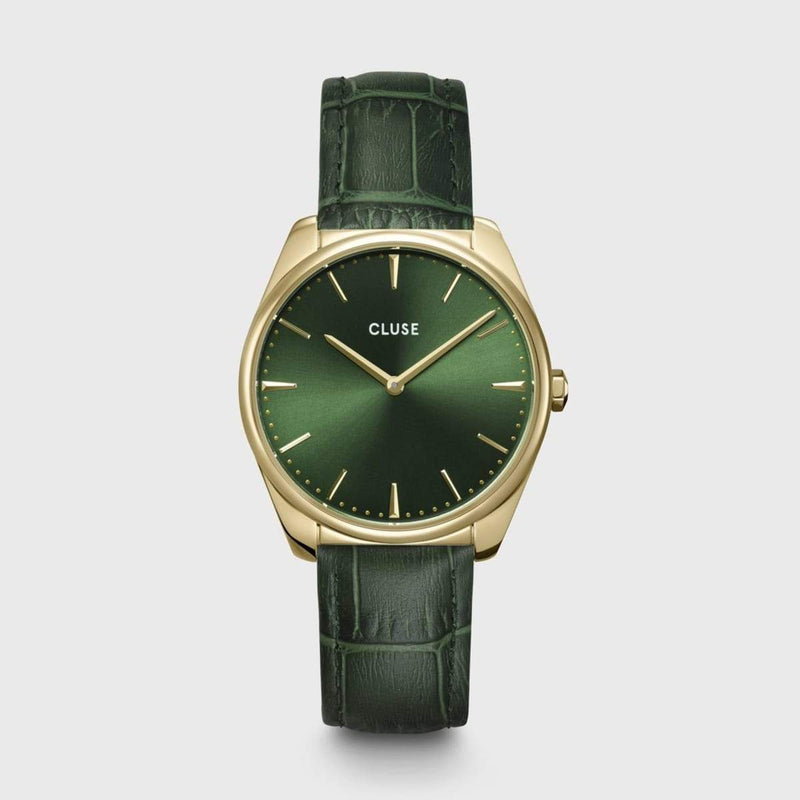 CLUSE Feroce 33 Gold Forest Green/Forest Green Croc Leather Ladies Watch