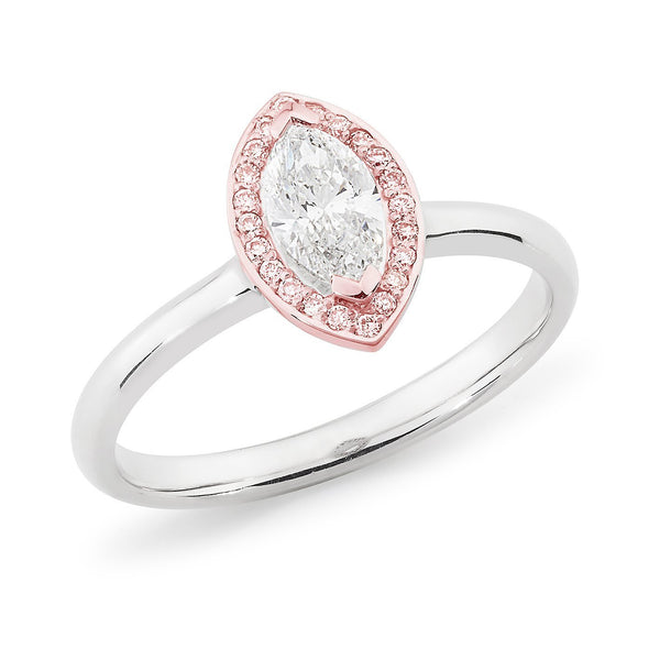 PINK CAVIAR 0.61ct White Marquise Cut & Pink Diamond Halo Engagement Ring in 18ct White Gold